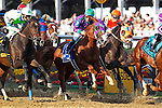 May 17, 2014. First time by the stands: #3 California Chrome, Victor Espinoza up, wins the 139th Preakness Stakes at Pimlico Race Course in Baltimore, MD. ©Joan Fairman Kanes/ESW/CSM