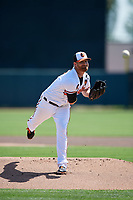 Baltimore Orioles starting pitcher Alex Cobb (17) delivers a pitch during a Grapefruit League Spring Training game against the Tampa Bay Rays on March 1, 2019 at Ed Smith Stadium in Sarasota, Florida.  Rays defeated the Orioles 10-5.  (Mike Janes/Four Seam Images)