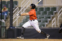 Brandon Dulin (31) of the Kannapolis Intimidators follows through on his swing against the Lakewood BlueClaws at Kannapolis Intimidators Stadium on April 8, 2017 in Kannapolis, North Carolina.  The BlueClaws defeated the Intimidators 8-4 in 10 innings.  (Brian Westerholt/Four Seam Images)