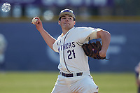 High Point Panthers pitcher David Keith (21) in action against the Bryant Bulldogs at Williard Stadium on February 21, 2021 in  Winston-Salem, North Carolina. The Panthers defeated the Bulldogs 3-2. (Brian Westerholt/Four Seam Images)