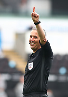 1st May 2021; Liberty Stadium, Swansea, Glamorgan, Wales; English Football League Championship Football, Swansea City versus Derby County; Referee Darren Bond points to the corner flag for a Swansea kick