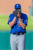 Corey Oswalt (55) of the Las Vegas 51s preparing to pitch during a game against the Oklahoma City Dodgers at Chickasaw Bricktown Ballpark on June 17, 2018 in Oklahoma City, Oklahoma. Oklahoma City defeated Las Vegas 5-3  (William Purnell/Four Seam Images)