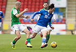 St Johnstone v Hibs……23.08.20   McDiarmid Park  SPFL<br />Craig Conway is closed down by Alex Gogic<br />Picture by Graeme Hart.<br />Copyright Perthshire Picture Agency<br />Tel: 01738 623350  Mobile: 07990 594431