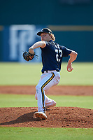 Ryan Higgins (23) of St. Luke's High School in New Canaan, CT during the Perfect Game National Showcase at Hoover Metropolitan Stadium on June 20, 2020 in Hoover, Alabama. (Mike Janes/Four Seam Images)