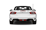 Straight rear view of 2018 Fiat 124-Spider Abarth 2 Door Convertible Rear View  stock images