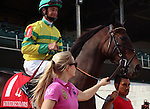May 26, 2014:  Jamaican Smoke and jockey Corey Lanerie in the post parade of the Winning Colors at Churchill Downs.  She is owned by Glencrest Farm and trained by Eddie Kenneally.  Mary M. Meek/ESW/CSM