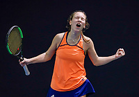 Hilversum, Netherlands, December 3, 2017, Winter Youth Circuit Masters, 12,14,and 16 years, Anouk Koevermans (NED) wins girls 16 years and celebrates<br /> Photo: Tennisimages/Henk Koster