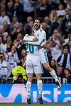 Marco Asensio Willemsen (l) of Real Madrid celebrates with teammate Isco Alarcon for scoring during the La Liga 2017-18 match between Real Madrid and SD Eibar at Estadio Santiago Bernabeu on 22 October 2017 in Madrid, Spain. Photo by Diego Gonzalez / Power Sport Images