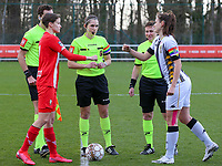 Maurane Marinucci (7) of Standard gives a fist bump to Noemie Fourdin (11) of Sporting Charleroi after the coin the toss before a game between Standard Femina de Liege and Sporting Charleroi on the 16th matchday of the 2020 - 2021 season of Belgian Scooore Womens Super League , saturday 13 th of February 2021  in Angleur , Belgium . PHOTO SPORTPIX.BE | SPP | SEVIL OKTEM
