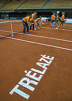 13 April, 2016, France, Trélazé, Arena Loire,   Semifinal FedCup, France-Netherlands, Dutch team warming up and are playing a game left captain Paul Haarhuis<br /> Photo:Tennisimages/Henk Koster