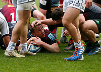 20th March 2021; Twickenham Stoop, London, England; English Premiership Rugby, Harlequins versus Gloucester; Harlequins, Gloucester; Alex Dombrandt of Harlequins scores in the final minutes and receives praise from teammates