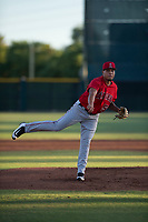 AZL Angels starting pitcher Jose Natera (55) follows through on his delivery during an Arizona League game against the AZL Giants Black at the San Francisco Giants Training Complex on July 1, 2018 in Scottsdale, Arizona. The AZL Giants Black defeated the AZL Angels by a score of 4-2. (Zachary Lucy/Four Seam Images)