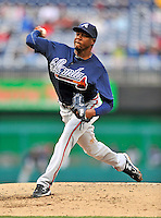 2 April 2011: Atlanta Braves pitcher Cristhian Martinez on the mound against the Washington Nationals at Nationals Park in Washington, District of Columbia. The Nationals defeated the Braves 6-3 in the second game of their season opening series. Mandatory Credit: Ed Wolfstein Photo