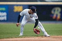 Scranton/Wilkes-Barre RailRiders shortstop Andrew Velazquez (1) warms up between innings of the game against the Rochester Red Wings at PNC Field on July 25, 2021 in Moosic, Pennsylvania. (Brian Westerholt/Four Seam Images)