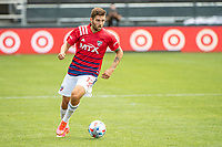 SAN JOSE, CA - APRIL 24: Ryan Hollingshead #12 of FC Dallas looks up to pass the ball during a game between FC Dallas and San Jose Earthquakes at PayPal Park on April 24, 2021 in San Jose, California.