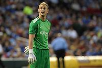 Joe Hart, Manchester City goalkeeper looks up at the scoreboard screen..Manchester City defeated Chelsea 4-3 in an international friendly at Busch Stadium, St Louis, Missouri.