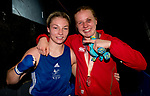 Wales Lauren Price & Rosie Eccles after there bouts <br /> <br /> *This image must be credited to Ian Cook Sportingwales and can only be used in conjunction with this event only*<br /> <br /> 21st Commonwealth Games - Boxing - Day 10 - 14\04\2018 - Oxenford Studios  - Gold Coast City - Australia