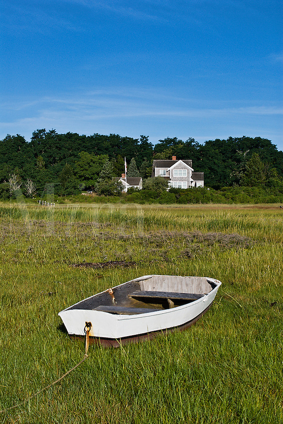 Waterfront beach house and dhingy, Orleans, Cape Cod, Massachusetts, , USA