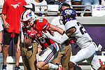 Southern Methodist Mustangs wide receiver Trey Quinn (18) in action during the game between the SMU Mustangs and the TCU Horned Frogs at the Amon G. Carter Stadium in Fort Worth, Texas.