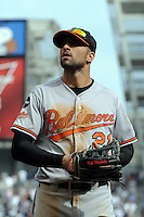 Baltimore Orioles outfielder Nick Markakis #21 during game against the New York Yankees at Yankee Stadium on September 5, 2011 in Bronx, NY.  Yankees defeated Orioles 11-10.  Tomasso DeRosa/Four Seam Images