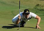 1 September 2008: Camilo Villegas lines up a putt at the Deutsche Bank Golf Championship in Norton, Massachusetts.