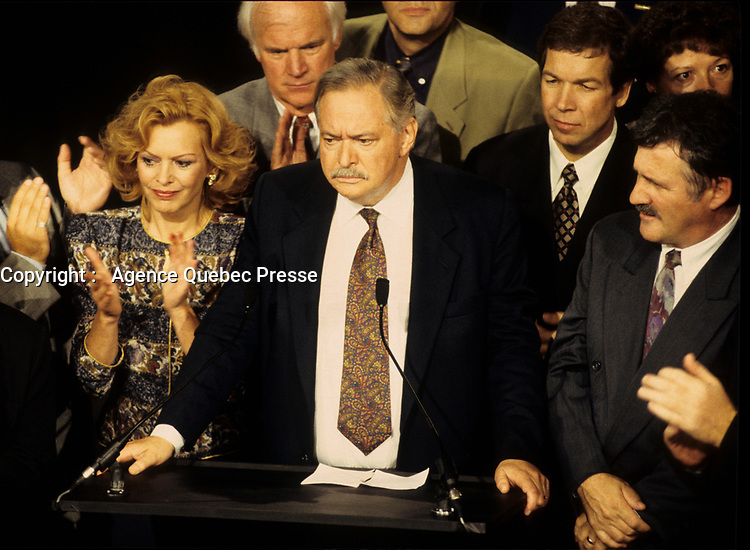 September 12 1994 File Photo <br /> <br /> Parti Quebecois  Leader Jacques Parizeau adress the PQ member s at the Capitol in Quebec City after <br /> winning  the Provincial election,  September 12 1994, ON his left his 2nd wife Lizette Lapointe.<br /> <br /> <br /> Photo by Pierre Roussel / Images Distribution