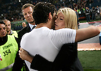 Calcio, Serie A: Roma-Milan. Roma, stadio Olimpico, 7 maggio 2011..Football, Italian serie A: AS Roma vs AC Milan. Rome, Olympic stadium, 7 may 2011..AC Milan's board member Barbara Berlusconi, right, kisses forward Alexandre Pato, of Brazil, at the end of the match, for the winning of the 18th championship..UPDATE IMAGES PRESS/Riccardo De Luca