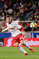 Harrison, NJ - Tuesday April 10, 2018: Florian Valot during leg two of a  CONCACAF Champions League semi-final match between the New York Red Bulls and C. D. Guadalajara at Red Bull Arena. C. D. Guadalajara defeated the New York Red Bulls 0-0 (1-0 on aggregate).