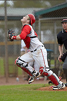 Ohio State Buckeyes catcher Aaron Gretz #25 during a game against the USF Bulls at the Big Ten/Big East Challenge at Walter Fuller Complex on February 17, 2012 in St. Petersburg, Florida.  (Mike Janes/Four Seam Images)