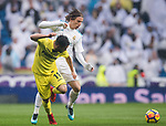 Luka Modric of Real Madrid fights for the ball with Jaume Vicent Costa Jorda, J Costa, of Villarreal CF during the La Liga 2017-18 match between Real Madrid and Villarreal CF at Santiago Bernabeu Stadium on January 13 2018 in Madrid, Spain. Photo by Diego Gonzalez / Power Sport Images
