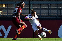 Allyson Swaby of AS Roma and Tatiana Bonetti of ACF Fiorentina compete for the ball during the women Serie A football match between AS Roma and ACF Fiorentina at Tre Fontane Stadium in Roma (Italy), November 7th, 2020. Photo Andrea Staccioli / Insidefoto