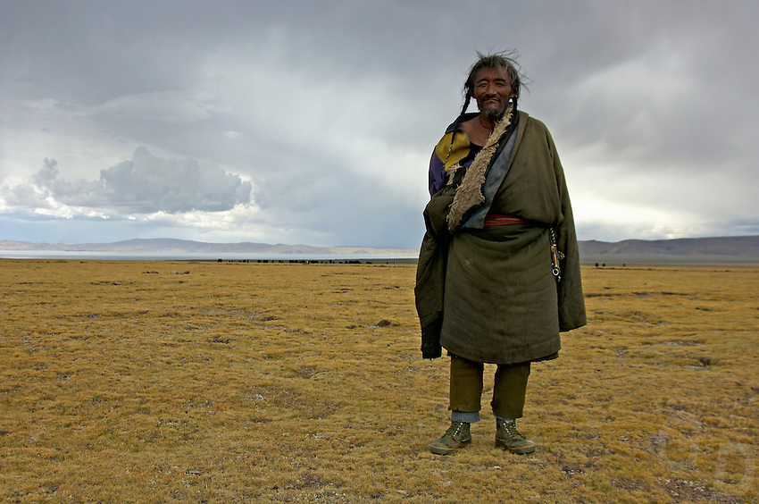 PROUD 78 YEAR OLD TIBETAN NOMAD, at the plains near Namtso Lake,.the highest salt water lake in the world, at 4800 meters