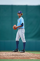 Tampa Bay Rays pitcher Jhonleider Salinas (64) gets ready to deliver a pitch during an Instructional League game against the Baltimore Orioles on October 5, 2017 at Ed Smith Stadium in Sarasota, Florida.  (Mike Janes/Four Seam Images)