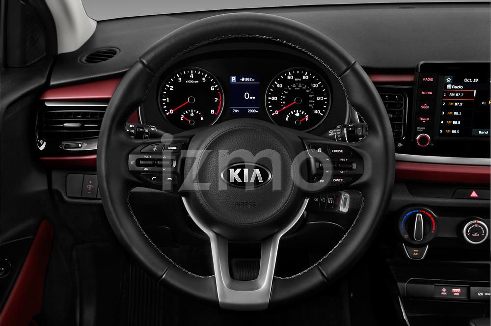 Car pictures of steering wheel view of a 2018 KIA Rio EX 5 Door Hatchback