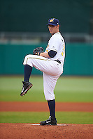 Montgomery Biscuits pitcher Bradin Hagens (32) delivers a pitch during a game against the Jackson Generals on April 29, 2015 at Riverwalk Stadium in Montgomery, Alabama.  Jackson defeated Montgomery 4-3.  (Mike Janes/Four Seam Images)