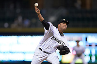 Charlotte Knights relief pitcher Gregory Infante (45) delivers a pitch to the plate against the Buffalo Bison at BB&T BallPark on August 14, 2018 in Charlotte, North Carolina. The Bison defeated the Knights 14-5.  (Brian Westerholt/Four Seam Images)