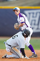 Chris Clare (9) of the High Point Panthers gets the force out as Connor Owings (6) of the Coastal Carolina Chanticleers slides into second base at Willard Stadium on March 14, 2014 in High Point, North Carolina.  The Panthers defeated the Chanticleers 3-0.  (Brian Westerholt/Four Seam Images)