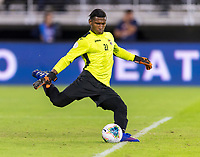 WASHINGTON, DC - OCTOBER 11: Nelson Johnston #21 of Cuba kicks the ball during a game between Cuba and USMNT at Audi Field on October 11, 2019 in Washington, DC.