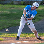 PROSPECT, CT 072231JS23 Torrington's Jake Reynolds (3) rips a base hit during the first round of the Tri-State Baseball Playoffs game against  Blasius Chevrolet Friday at Hotchkiss Field in Prospect. <br /> Jim Shannon Republican American