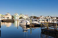 Waterfront houses along the canal at Carolina Beach, North Carolina, USA