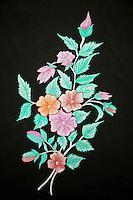 Indian Handicrafts, Flower Painting on Fabric.  Dehradun, Uttarakhand, India.