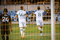 SAN JOSE, CA - SEPTEMBER 19: Marvin Loria #44 and Diego Valeri #8 of the Portland Timbers during a game between Portland Timbers and San Jose Earthquakes at Earthquakes Stadium on September 19, 2020 in San Jose, California.