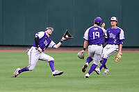CHAPEL HILL, NC - FEBRUARY 19: Sam Zayicek #28 of High Point University catches the ball between teammates Brady Pearre #2 and Justin Ebert #19 during a game between High Point and North Carolina at Boshamer Stadium on February 19, 2020 in Chapel Hill, North Carolina.