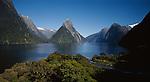 Milford Sound and Mitre Peak. Fiordland National Park. New Zealand.