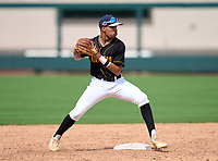 Montverde Academy Eagles shortstop Justin Colon (1) during practice before the 42nd Annual FACA All-Star Baseball Classic on June 5, 2021 at Joker Marchant Stadium in Lakeland, Florida.  (Mike Janes/Four Seam Images)