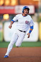 South Bend Cubs first baseman Gioskar Amaya (13) running the bases during a game against the Cedar Rapids Kernels on June 5, 2015 at Four Winds Field in South Bend, Indiana.  South Bend defeated Cedar Rapids 9-4.  (Mike Janes/Four Seam Images)