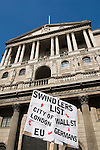 Credit Crunch protest outside bank of England Threadneedle Street. Stop the City march and demonstration against capitalism April 1st City of London while G20 World Leaders Summit meet in London. 2009.