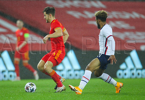 12th November 2020; Liberty Stadium, Swansea, Glamorgan, Wales; International Football Friendly; Wales versus United States of America; Tom Lockyer of Wales controls the ball while under pressure from Weston McKennie of USA