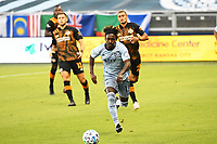 KANSAS CITY, UNITED STATES - AUGUST 25: Gerso Fernandes #12 of Sporting Kansas City chases the ball  a game between Houston Dynamo and Sporting Kansas City at Children's Mercy Park on August 25, 2020 in Kansas City, Kansas.