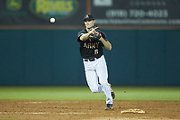 Army Black Knights shortstop Trey Martin (6) makes a throw to first base against the Auburn Tigers at Doak Field at Dail Park on June 2, 2018 in Raleigh, North Carolina. The Tigers defeated the Black Knights 12-1. (Brian Westerholt/Four Seam Images)